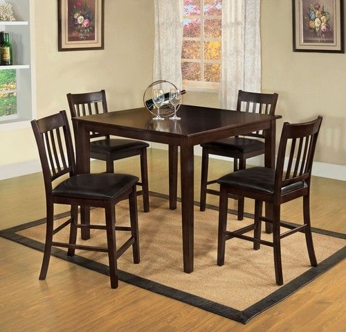 5 PC Furniture of America West Creek II Counter Dining Room Table