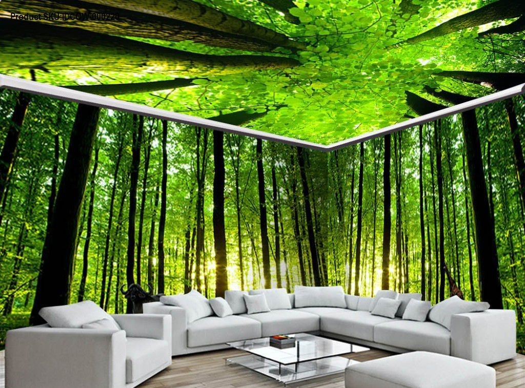 3D Animals Green Forest Tree Top Entire Living Room Wallpaper Wall