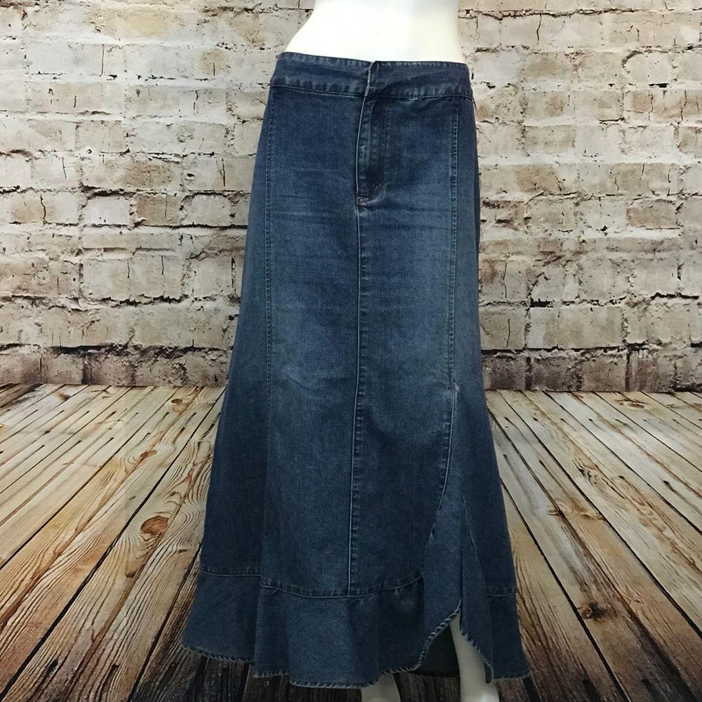 6941d1d39 Venezia Lane Bryant Plus Size 20 Denim Maxi Skirt Blue Jean Ruffle Gored |  eBay