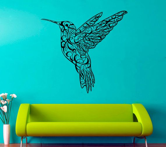 Colibri Wall Vinyl Decal Hummingbird Wall Vinyl Sticker Birds Decals Home Art Decor (2cri)