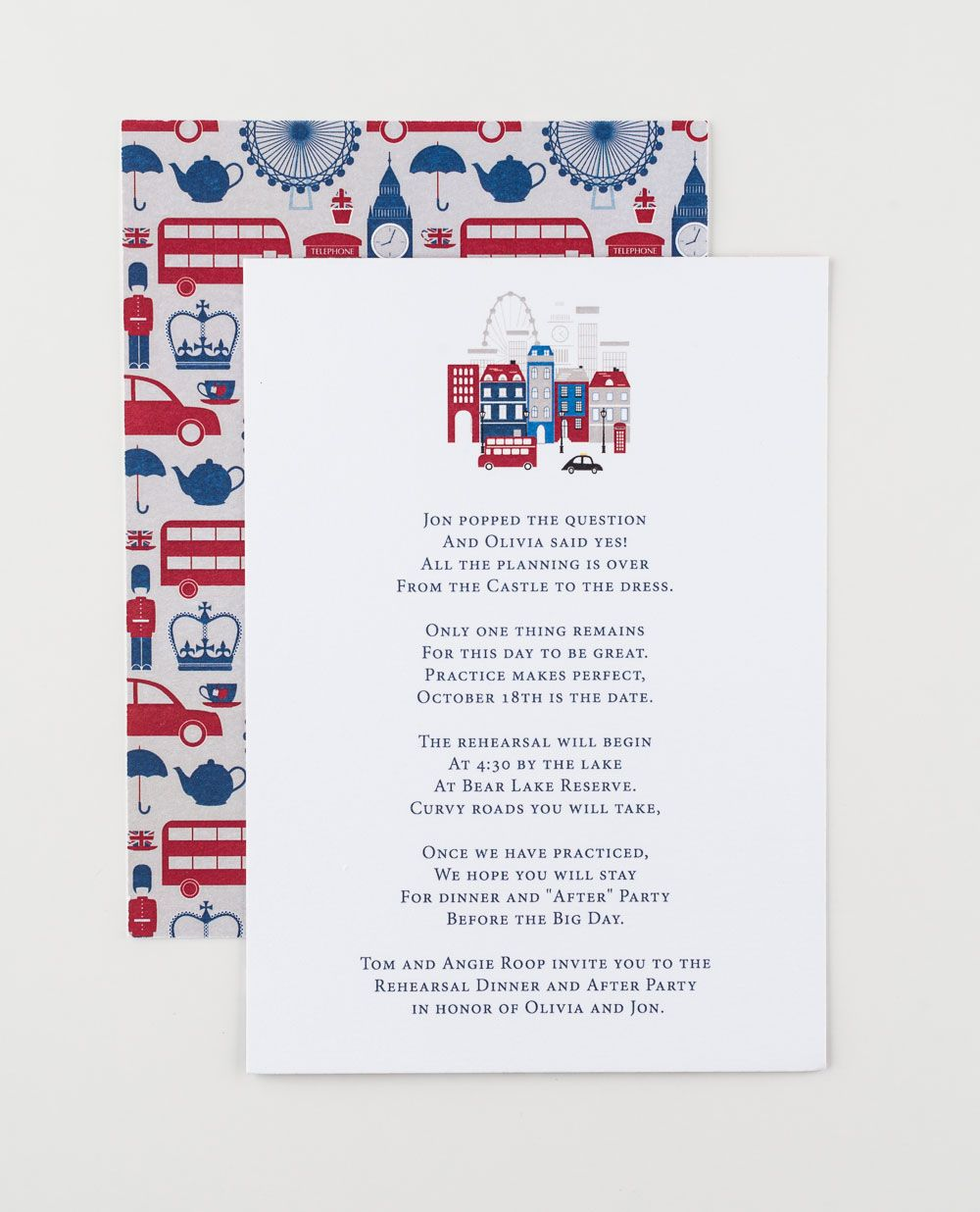 London Calling Save The Date designed by Jenn Herrington