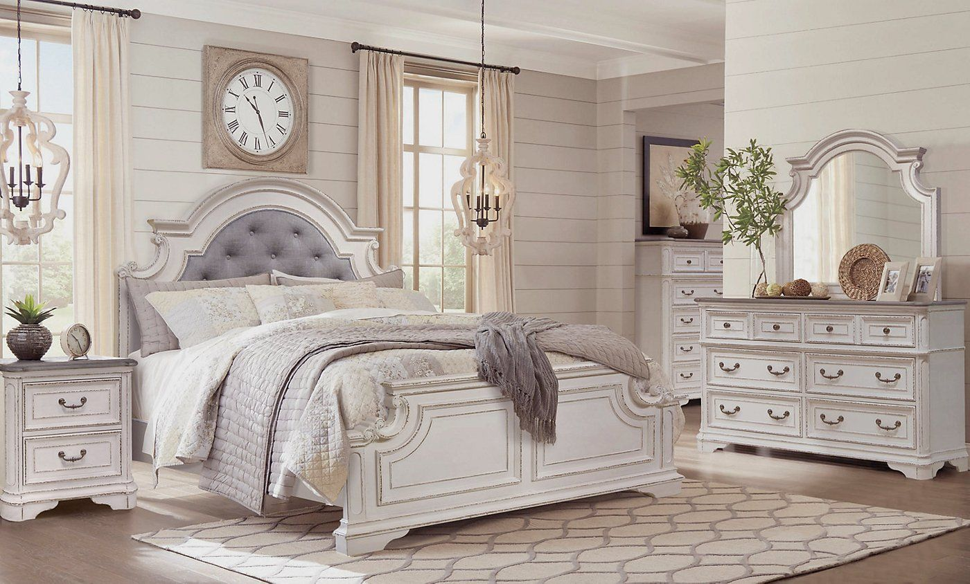 Grace 5 Piece King Bedroom Package Antique White Bedroom Set Bedroom Sets Bedroom Panel