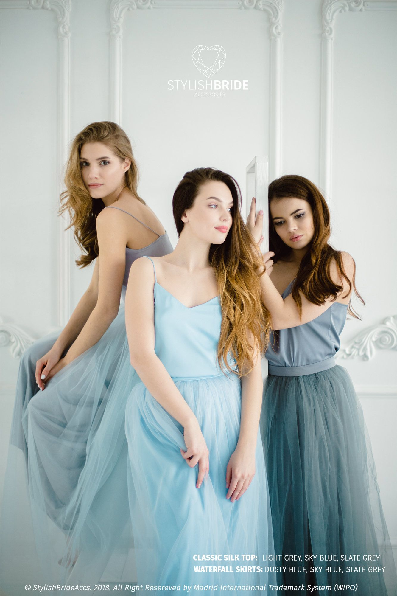 550706c964 Sky blue & Slate Grey Palette Bridesmaids Tulle Dress with Slate Dark Gray Silk  Cami Top, Dusty Blue Long Floor Length Waterfall Skirt by StylishBrideAccs  ...