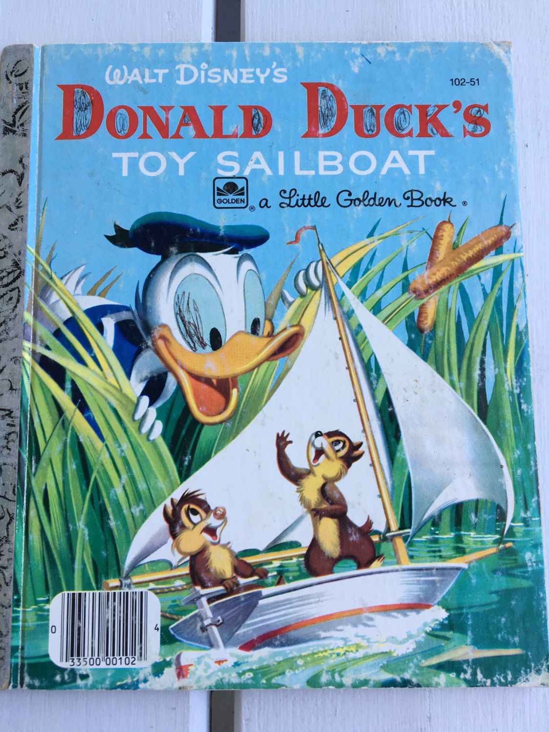 vintage Little Golden Book, Walt Disney's Donald Duck's Toy Sailboat, #102-51, 1956 edition by MotherMuse on Etsy