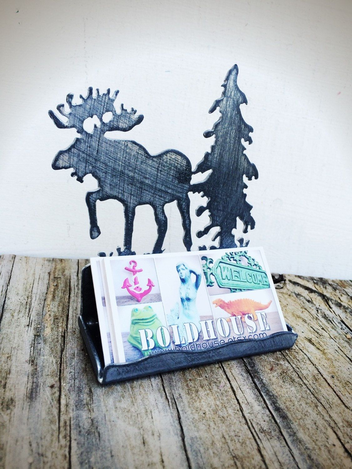 Bold distressed chrome moose tree business card holder rustic bold distressed chrome moose tree business card holder rustic shabby chic laser cut colourmoves