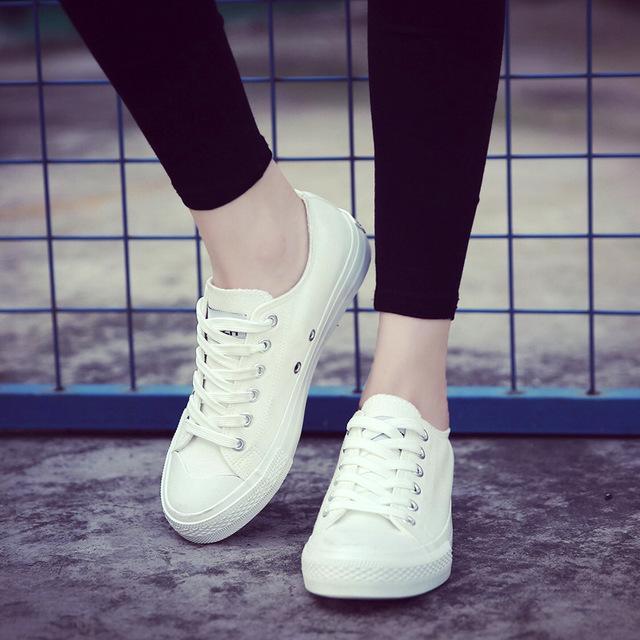 bce2707da330 Women Canvas Shoes Low Breathable Solid Color Flat Shoes Casual White  Leisure - Shoes
