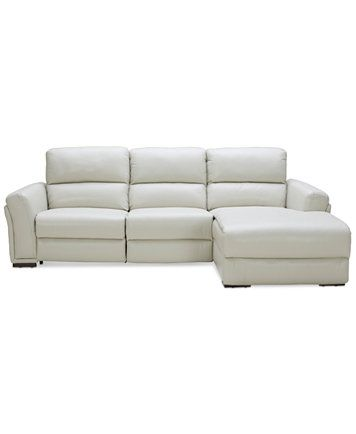 Jessi 3 Pc Leather Sectional Sofa With Chaise And 1 Power Recliner Created For Macy S Ma Leather Sectional Sofa Sectional Sofa With Chaise Leather Sectional