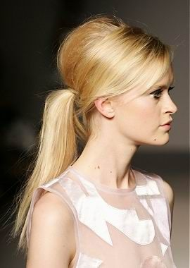 Runway ponytail with lots of volume.