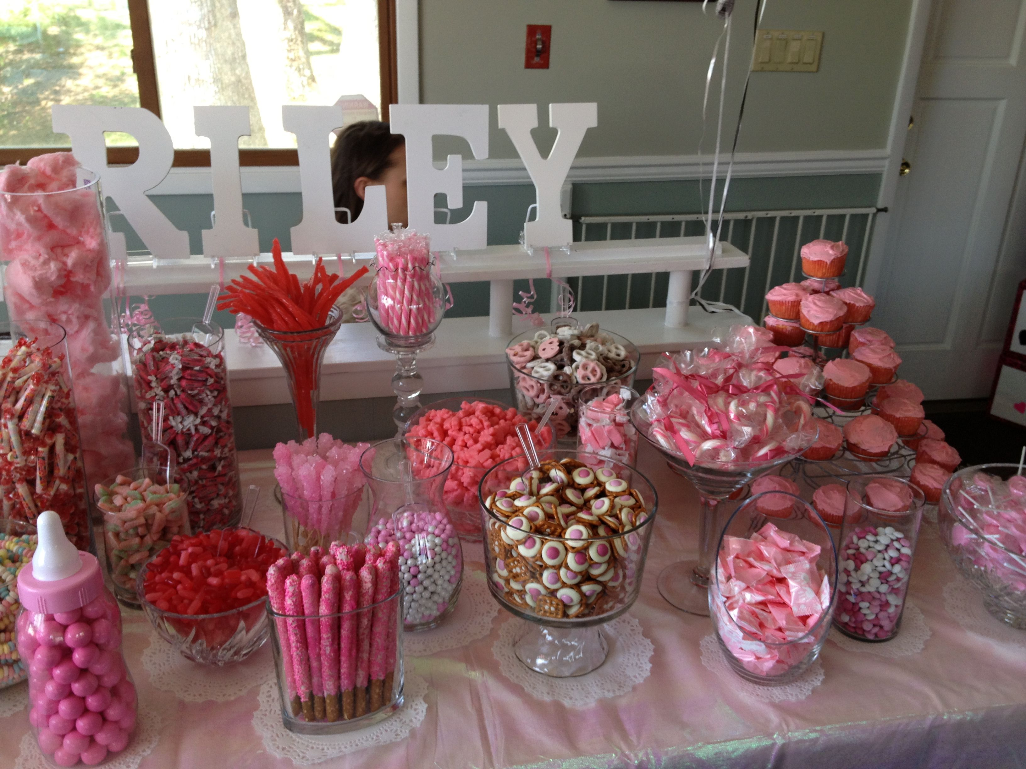 candy table that janessa made for shannons baby shower