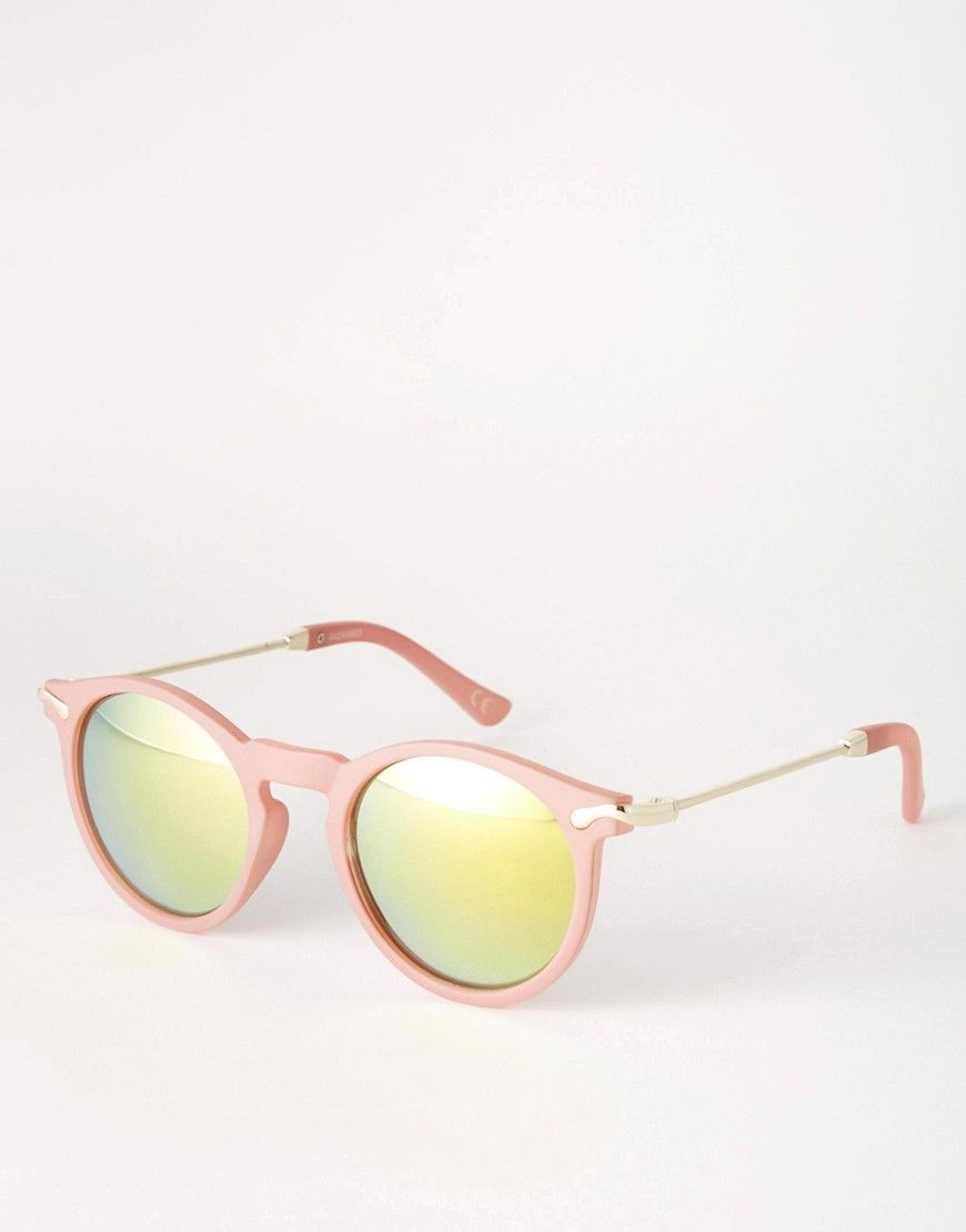 99153aa605 Image 1 of ASOS Skinny Round Sunglasses With Metal Arms And Flash Lens