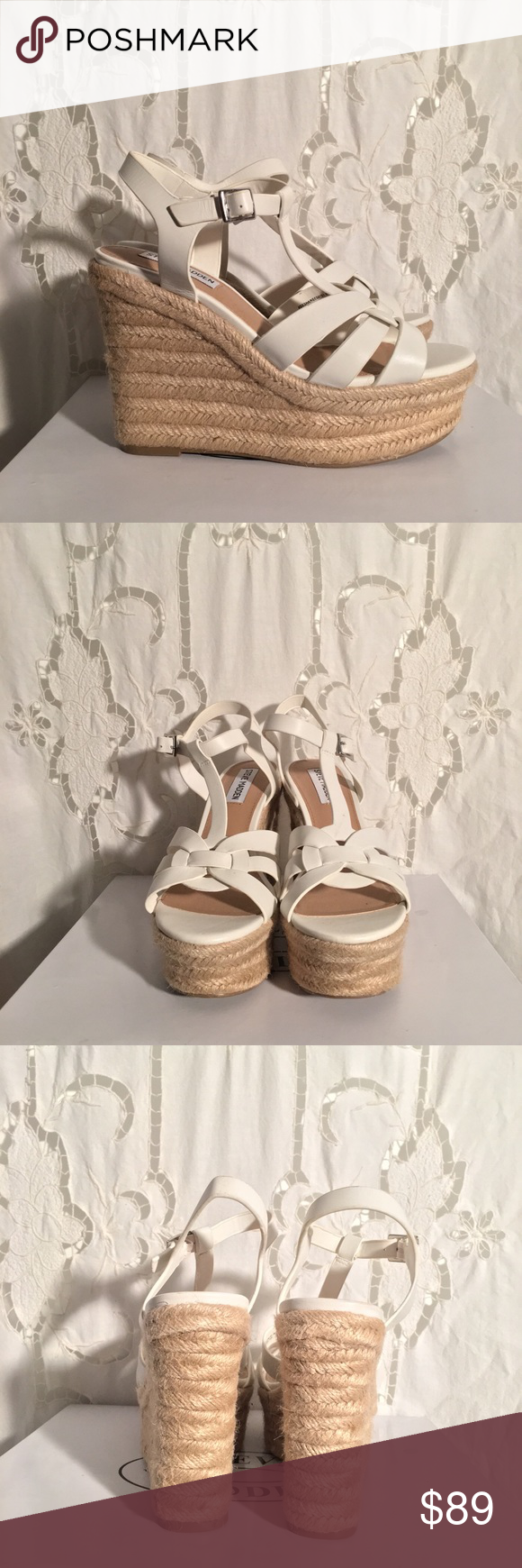 61270c5335c Steve Madden KEESHA White Leather Wedges These YSL inspired wedges ...
