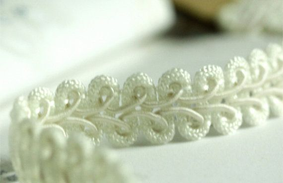 Show White Lace Beaded Fringe Ribbon Trim by StickerClub on Etsy, $4.84