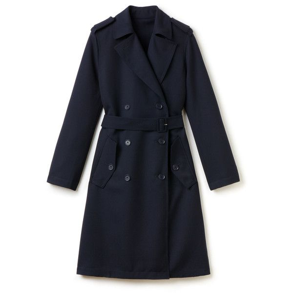 Lacoste Women's Fashion Show Wool Trench Coat ($575) ❤ liked on Polyvore featuring outerwear, coats, navy blue, wool trench coat, navy blue wool coat, woolen trench coat, navy trench coat and woolen coat