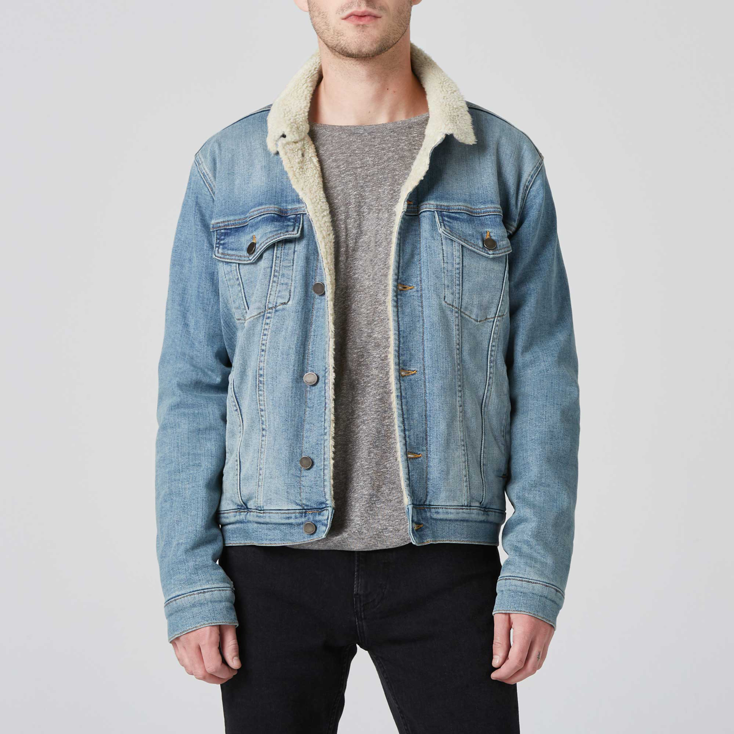 Our Men S Sherpa Denim Jacket In Vintage Blue Is Designed For An Authentically Worn In Look And Feel The C Lined Denim Jacket Sherpa Denim Jacket Denim Jacket [ 1500 x 1500 Pixel ]