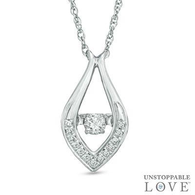 Zales 1/10 CT. T.w. Diamond Teardrop Pendant in 10K White Gold ZKksrf