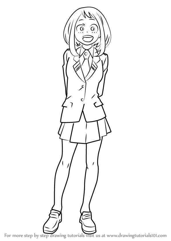 How To Draw Ochaco Uraraka From Boku No Hero Academia Drawingtutorials101 Com Easy Drawings Anime Character Drawing My Hero Academia Manga