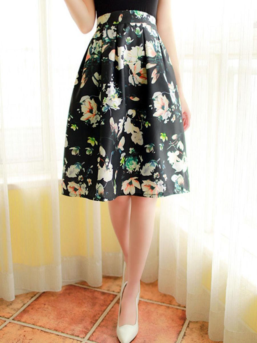 Fashionmia - Fashionmia Floral Printed Flared Midi Skirt - AdoreWe.com