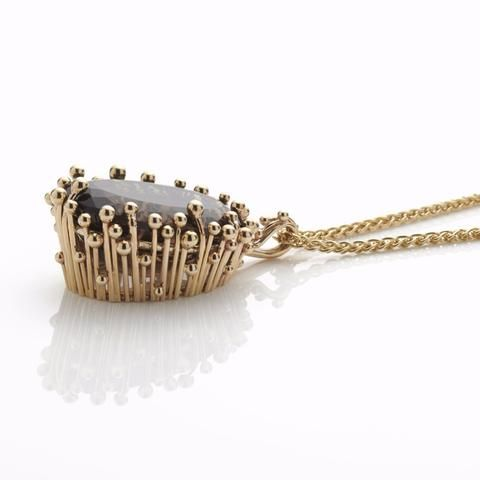 Gold Smoky Quartz Pendant   Yen Jewellery