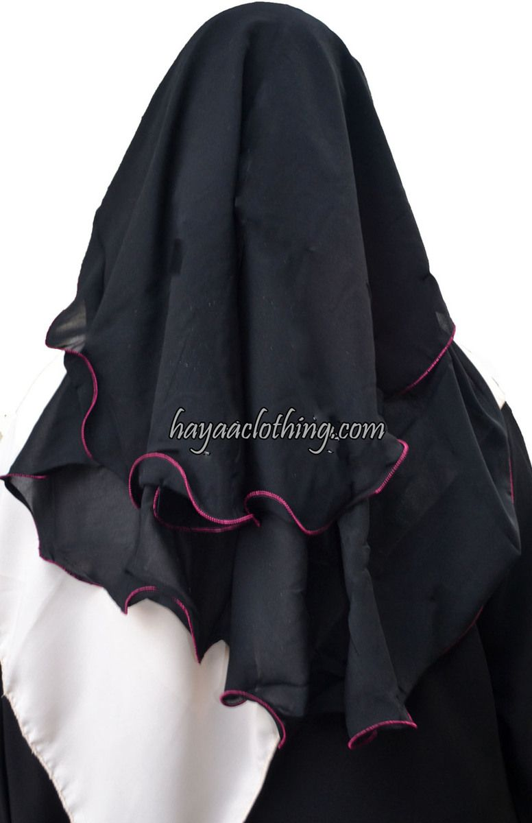 Hayaa Clothing - 3 Layers Fluttery Butterfly Black Saudi Niqab - Pink Trim, (http://www.hayaaclothing.com/3-layers-fluttery-butterfly-black-saudi-niqab-pink-trim/)