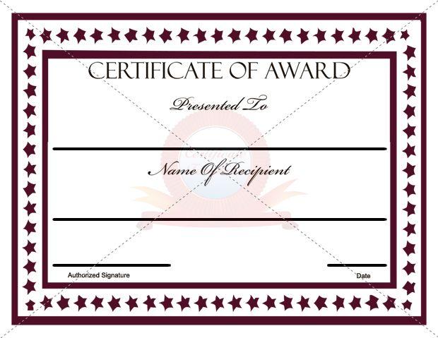 Award Certificate Templates  Certificate Template
