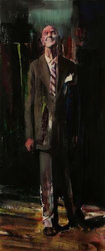 Adrian Ghenie : Laurel, 2008, oil and acrylic on canvas, 200 x 82 cm