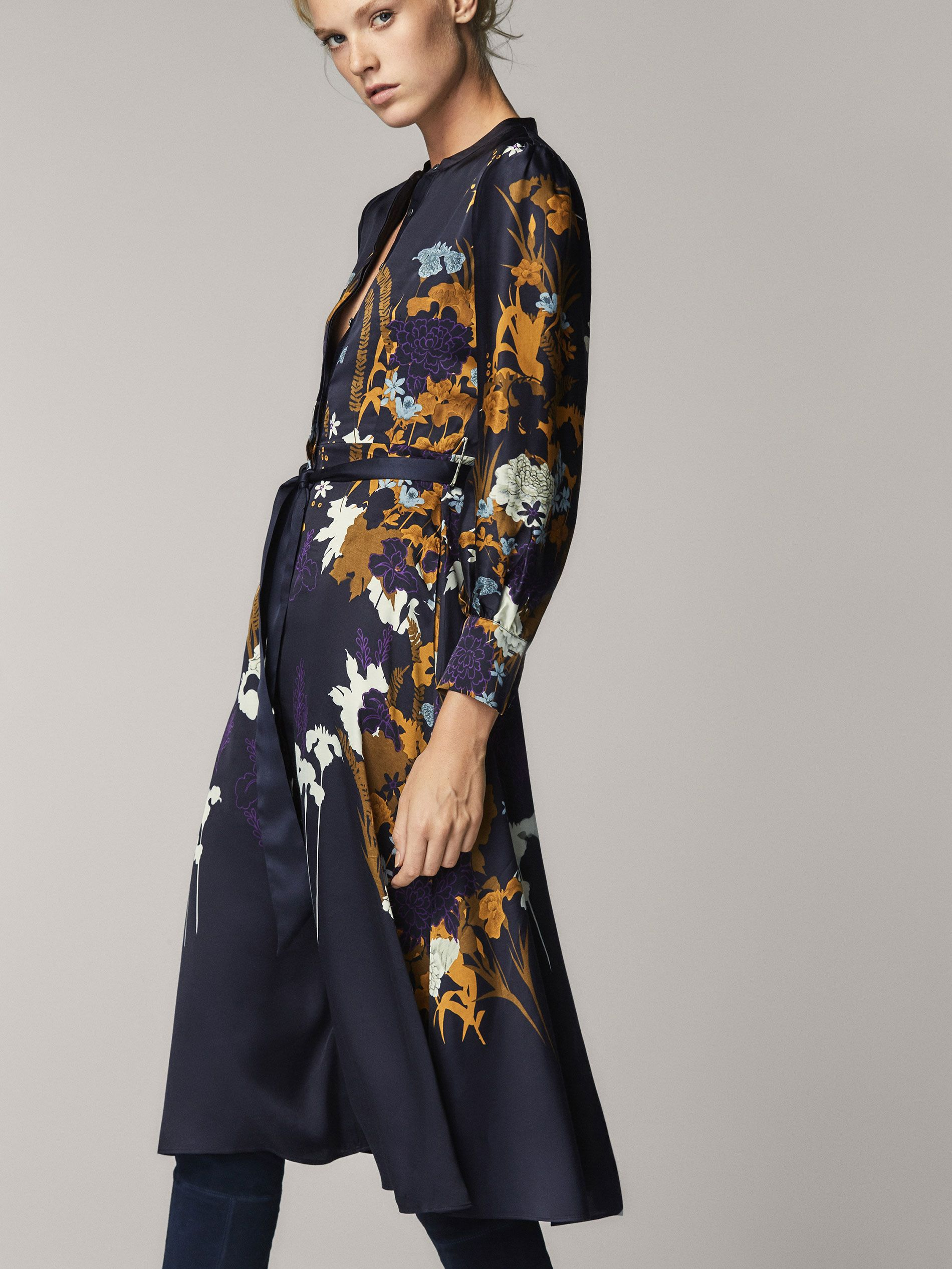 82a2a23b0f1 FLORAL PRINT SATIN DRESS WITH TIED DETAIL at Massimo Dutti