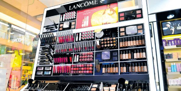 Lancôme products on display at the Lintons Beauty World at Garden