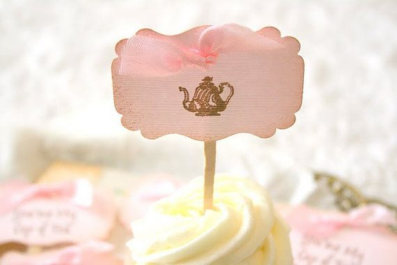 DIY: Tea party cupcake toppers. Easy decor for your dessert table.