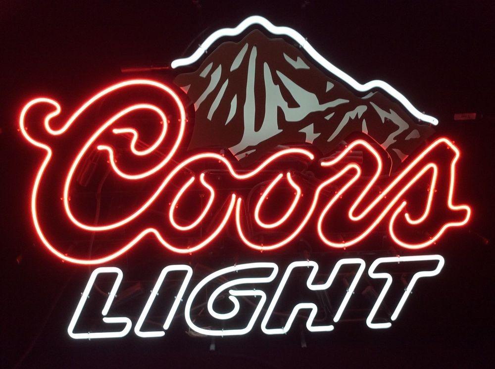 New Coors Light Beer Real Glass Handmade Neon Sign 18 X14 Neon Signs Neon Light Signs Neon Beer Signs
