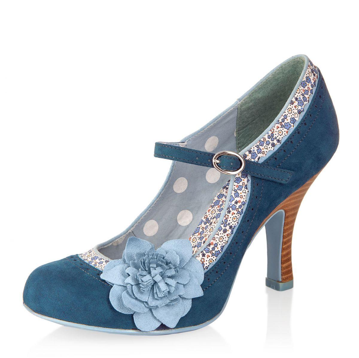 fddcd898964 Ruby Shoo Poppy Blue Floral Mary Jane High Heel Flower Shoes