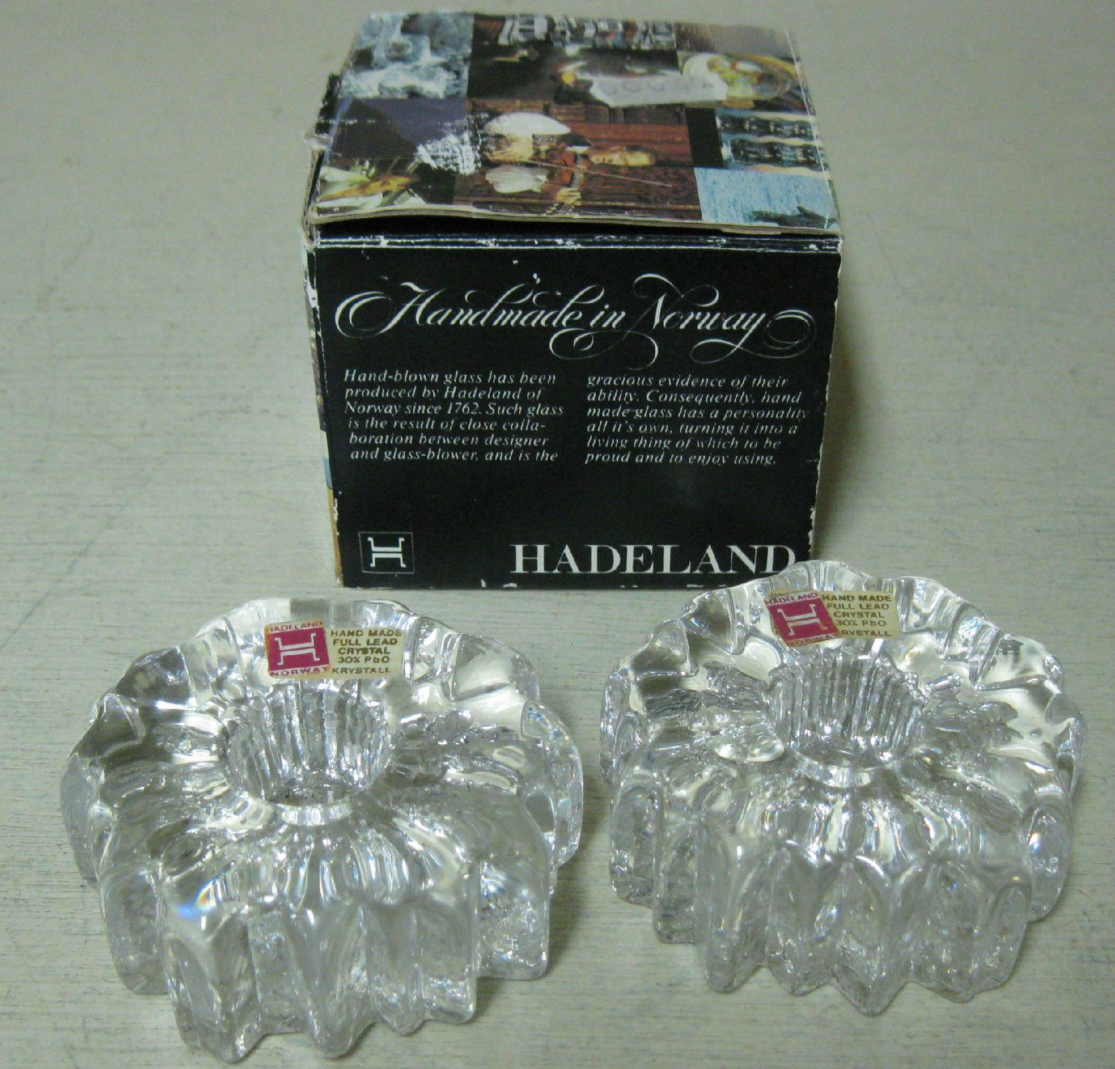 Collectible 2 Hadeland Norway Nautilus Hand Blown Crystal Candle