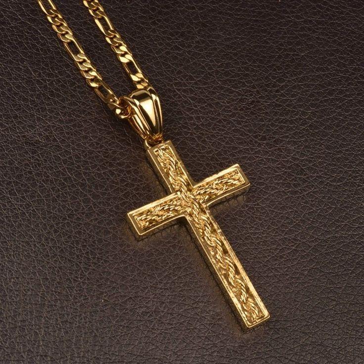 c2fb0e00cbf1d Copper Crucifix Gold Necklace Cross Pendant Christian Jewelry Men Women  Gift NEW  anniyo  Pendant