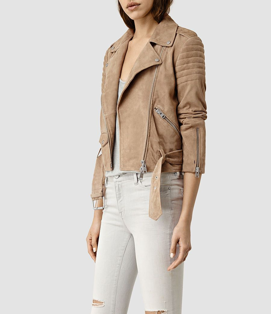 Allsaints Us Womens Hitchen Suede Biker Jacket Sand Brown Leather Jackets Women Biker Jacket Jackets [ 1044 x 900 Pixel ]