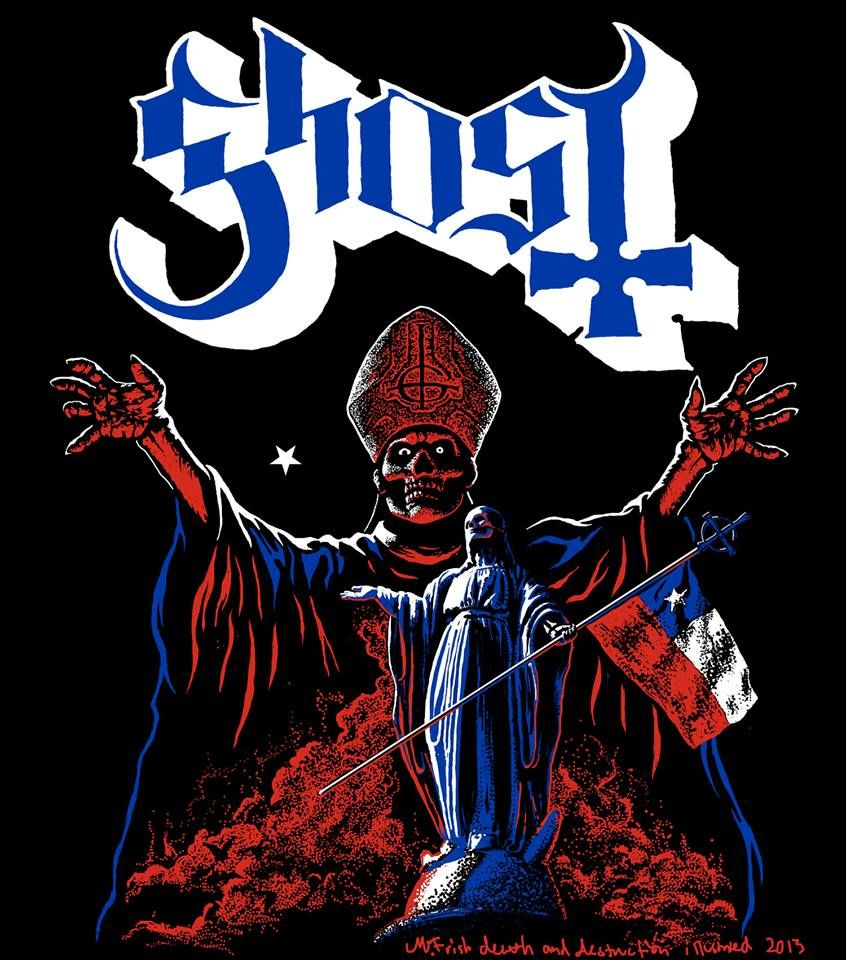 Last of the South America Ghost tour shirt designs: Chile. 2013. (c) all rights reserved. Concept by Ghost, artwork by M.Frisk death and destruction.