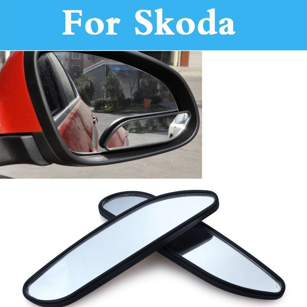 Car Adjustable 366 Wide Angle Convex Blind Spot Mirror For Skoda