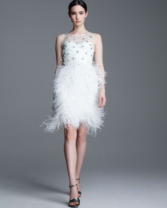 94eec4a8b4 Lela Rose Embroidered Organza bustier with Ostrich Feather-Skirt ...