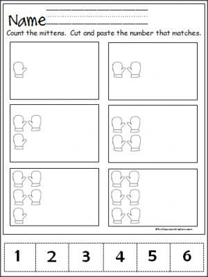 free winter mitten number practice page for the numbers 1 to 6 great pre k and kindergarten. Black Bedroom Furniture Sets. Home Design Ideas