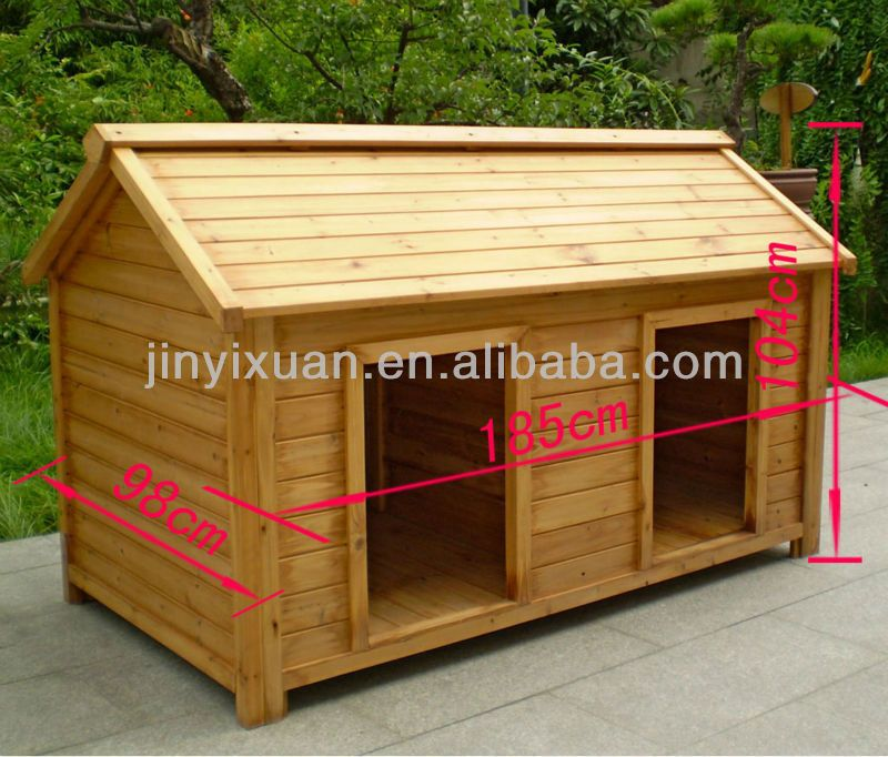 wood double dog kennel / outdoor large dog house for two | doggy