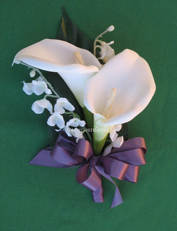 Items Similar To White Calla Lily Mothers Corsage Wisteria On Etsy