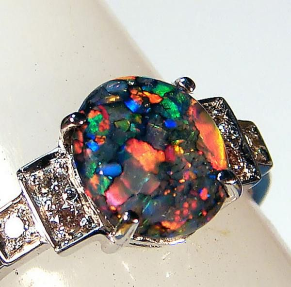 queensland opal mines google search - Black Opal Wedding Rings