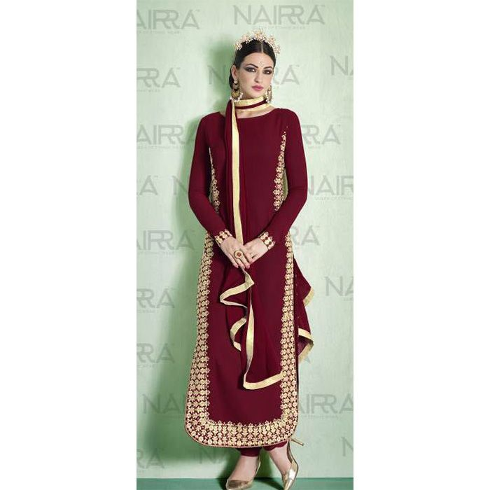 http://www.thatsend.com/shopping/lp/fvp/TESG154884/qf/color[]maroon  Maroon Georgette Designer Salwar Kameez Apparel Pattern Embroidered. Stiching Type Semi Stitched. Work Embroidery. Bottom Color Maroon. Bottom Length 2.5 Meters.