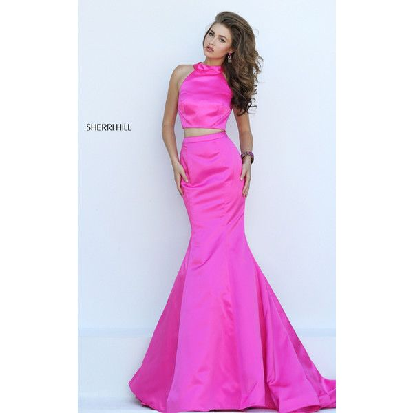 2016 Long Mermaid Two Piece Fuchsia Sherri Hill 32365 Prom Dress