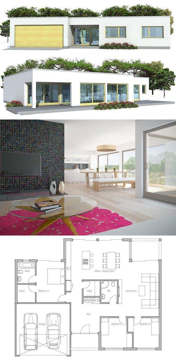 House Plan From Concepthome Com Modern Architecture Three Bedroom Floor Plan Dengan Gambar Denah Rumah Rumah Taman Nasional