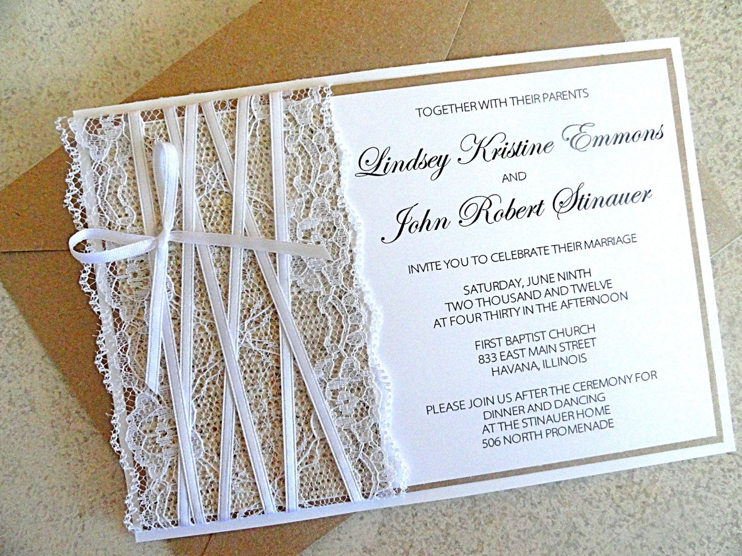 burlap and lace wedding invitation and rsvp card with envelope kraft and white wedding invite
