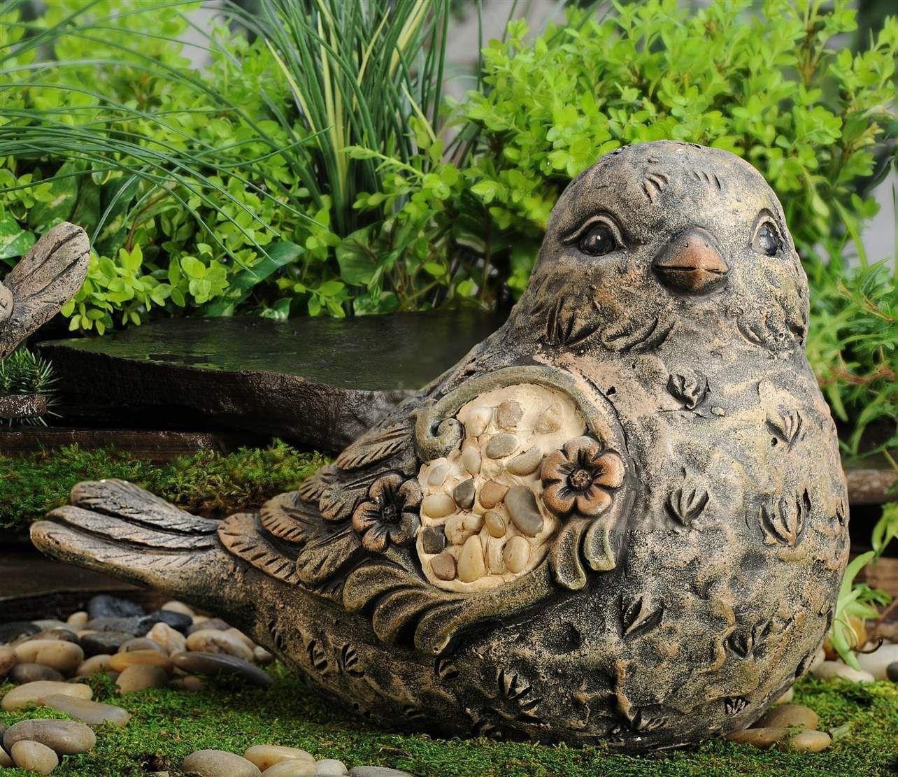 14 in.Magnesia BIRD figurine with River Stone garden pond decor ...