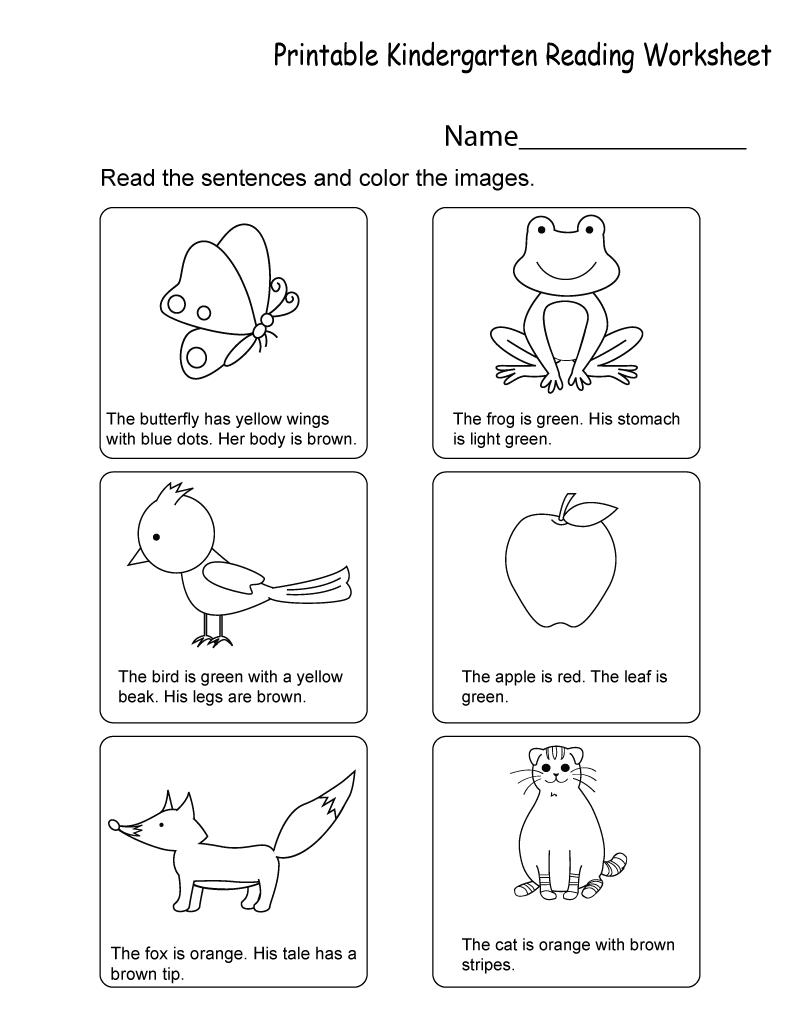 Printable Compilation of Kindergarten Worksheets PDF   Kindergarten reading  worksheets [ 1035 x 800 Pixel ]
