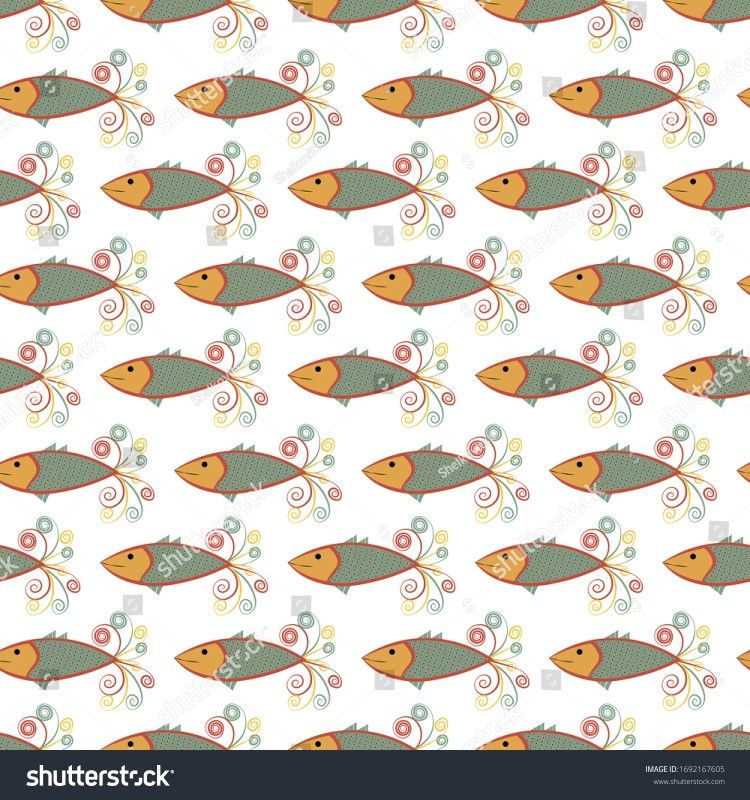 #fish#seamlesspattern #background #sea #vector #art nouveau #retro #nautical