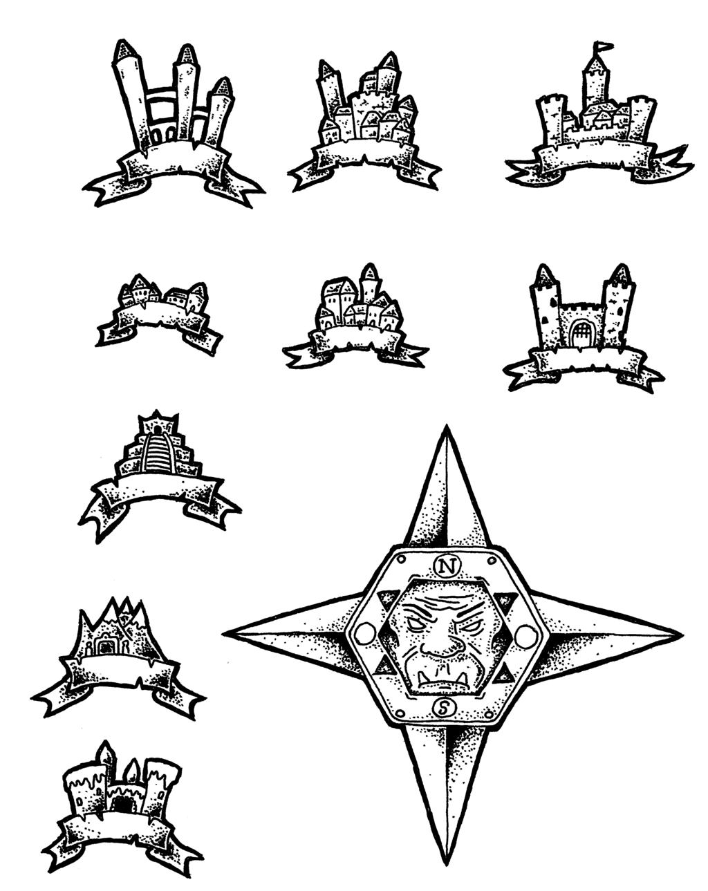 Black And White Overland Map Symbols By Darthasparagus
