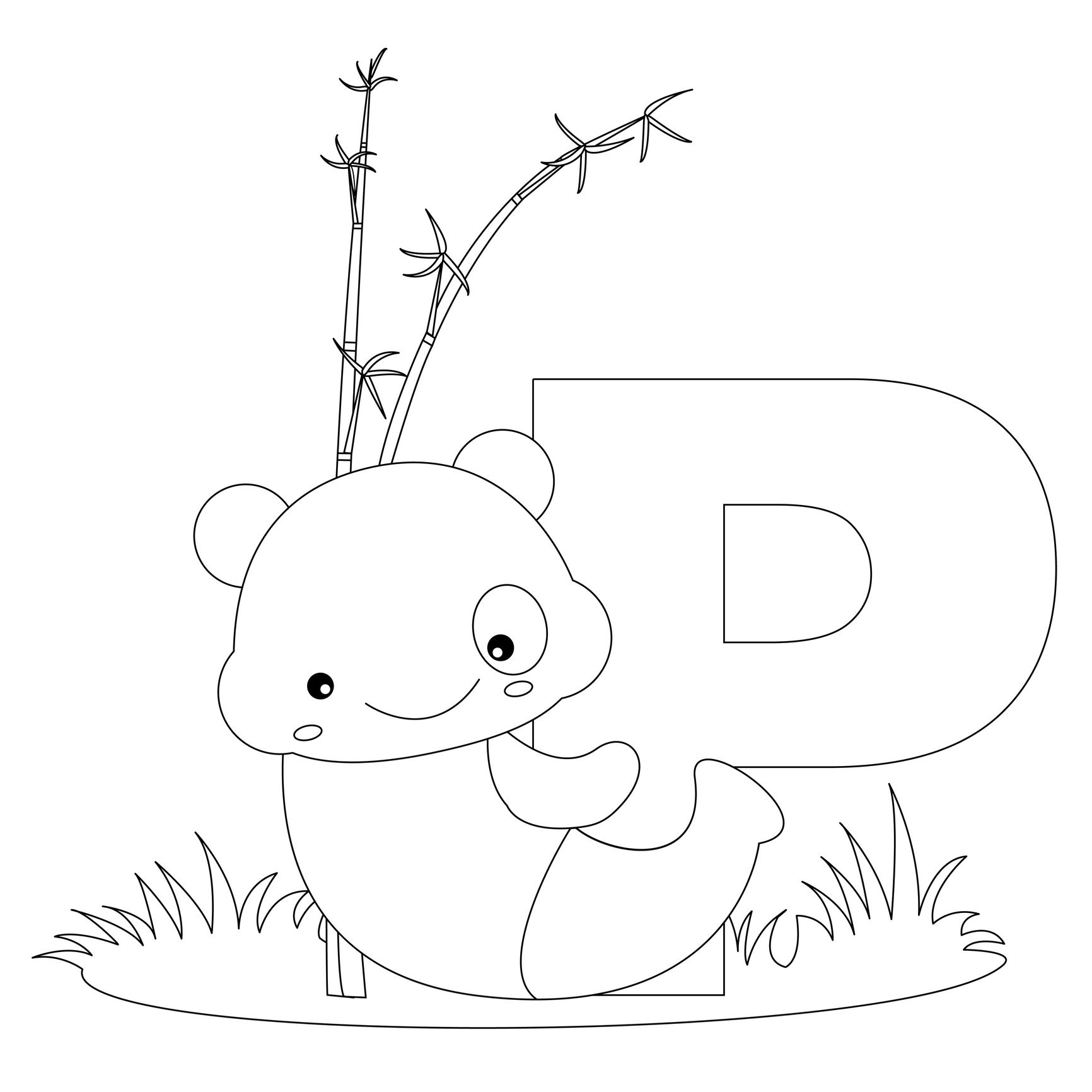 animal abc coloring pages | Animal Alphabet Letter P is for Panda! Here's a simple ...