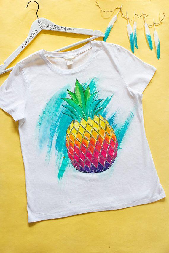 f7cb19fd7c Piña Mix camiseta camiseta de las mujeres de blanco pintado a ...